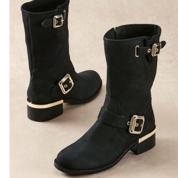 1d03d3610be Vince Camuto Windy Leather Block Heel Moto Boots